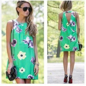 J Crew Factory green Punk Floral shift dress